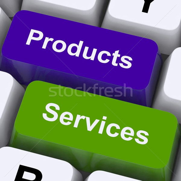 Stock photo: Products And Services Keys Show Selling And Buying Online
