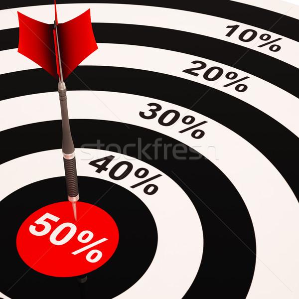 50Percent On Dartboard Shows Big Savings Stock photo © stuartmiles