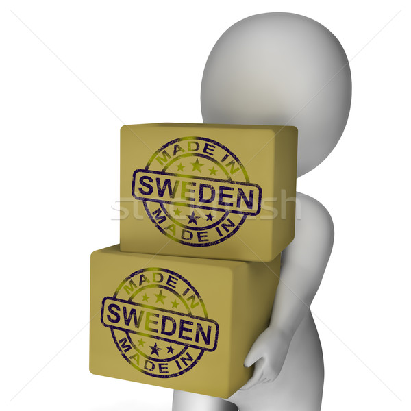 Made In Sweden Stamp On Boxes Shows Swedish Products Stock photo © stuartmiles