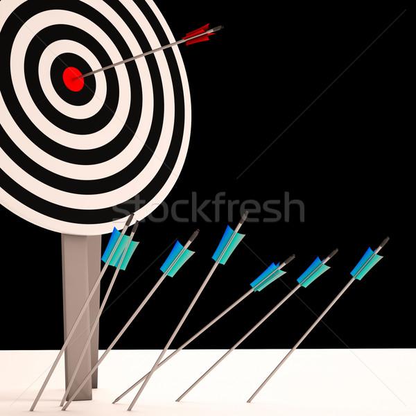 Arrow On Dartboard Shows Perfect Shot Stock photo © stuartmiles