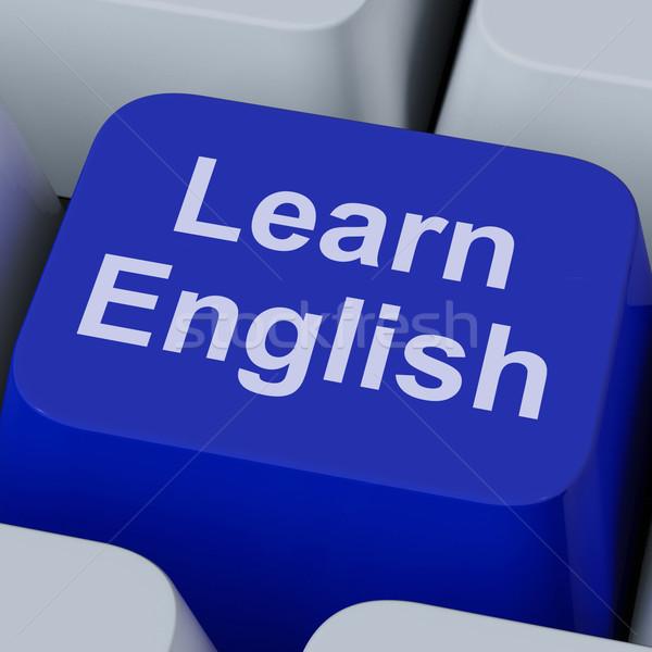 Aprender inglês chave estudar linguagem on-line Foto stock © stuartmiles