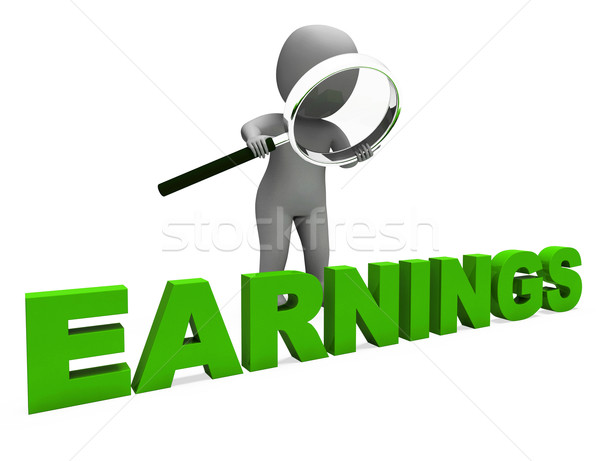 Earnings Character Shows Earning Revenue And Profitable Incomes Stock photo © stuartmiles