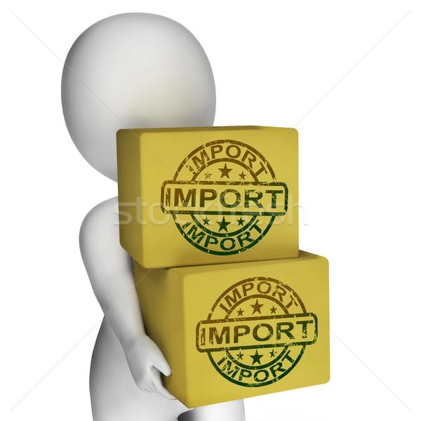 Import dobozok előadás importálás nemzetközi áru Stock fotó © stuartmiles