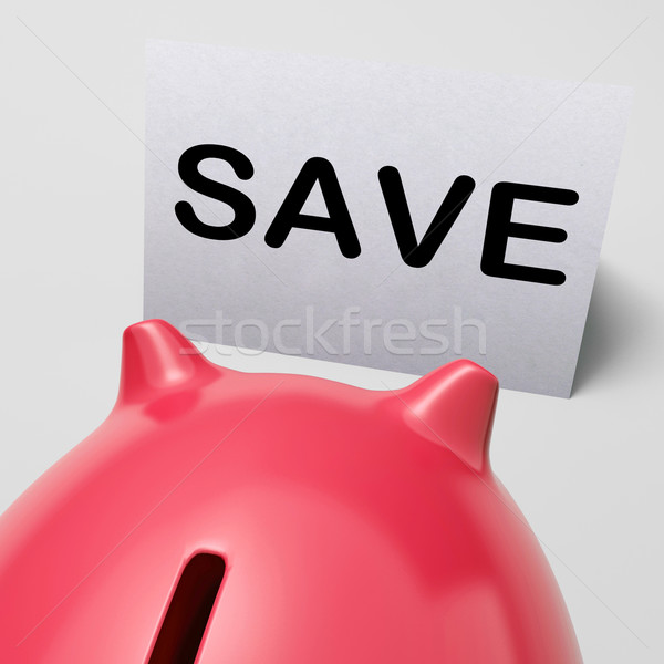 Save Piggy Bank Shows Product Discounts And Bargains Stock photo © stuartmiles