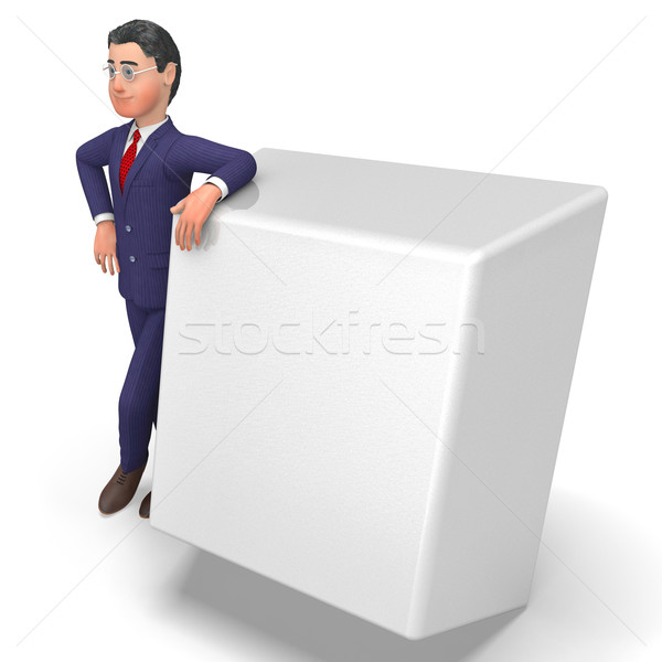 Businessman With Key Means Empty Space And Biz Stock photo © stuartmiles