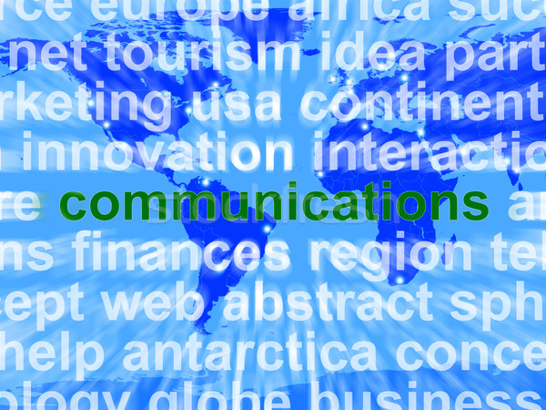 Communications Word On Map Showing Global Networking Stock photo © stuartmiles