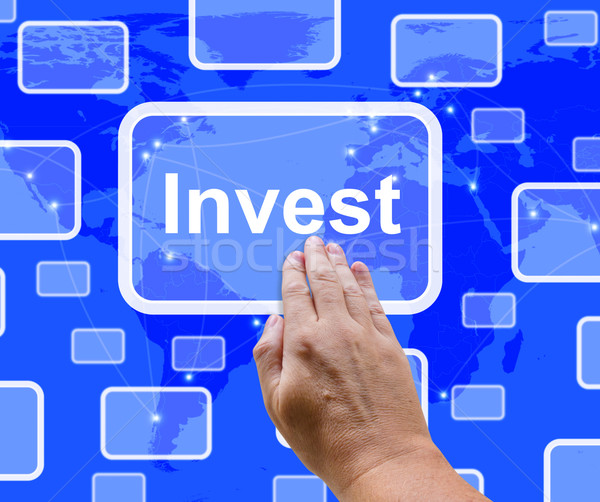 Invest Word Button Representing Saving Stocks And Interest Stock photo © stuartmiles