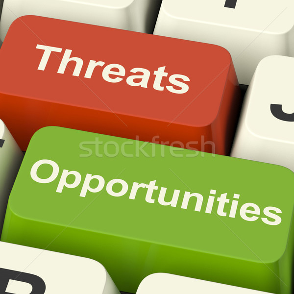 Threats And Opportunities Computer Keys Showing Business Risks O Stock photo © stuartmiles