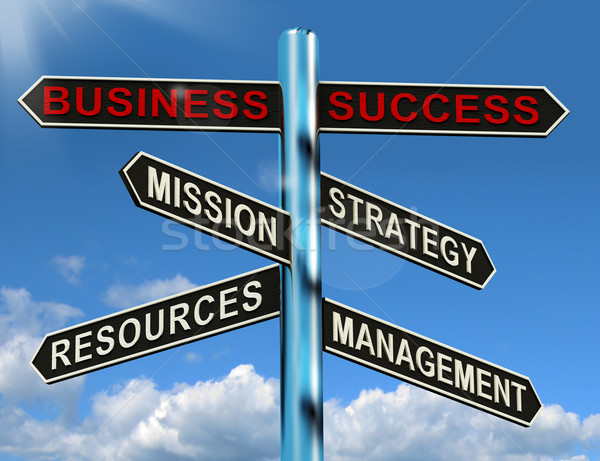 Stock photo: Business Success Signpost Showing Mission Strategy Resources And