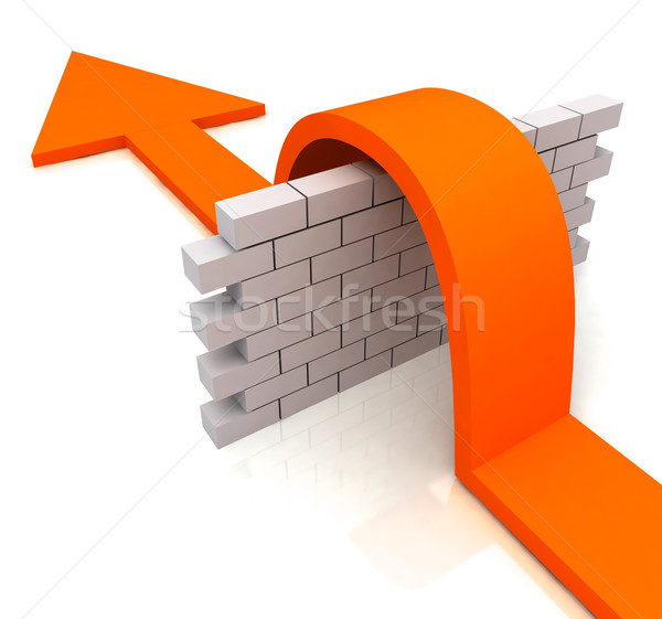 Orange Arrow Over Wall Means Overcome Obstacles Stock photo © stuartmiles