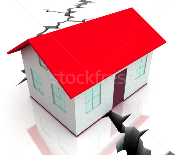 Red Roof House On Crack Shows Disaster Stock photo © stuartmiles