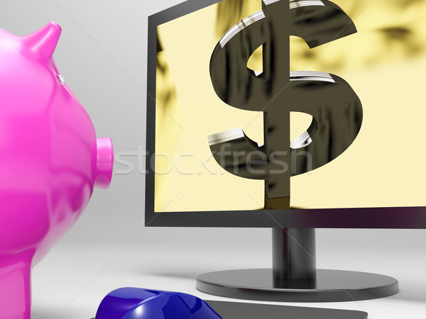 Dollar Screen Shows Finance Wealth And Prosperity Stock photo © stuartmiles