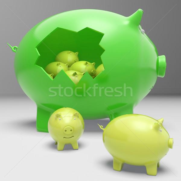 Piggybanks Inside Piggybank Shows Financial Break Stock photo © stuartmiles