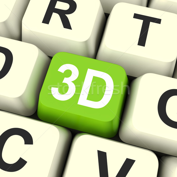 3d Key Shows Three Dimensional Printer Or Font Stock photo © stuartmiles