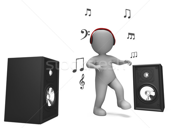 Listening Dancing Music Character Shows Loud Speakers And Songs Stock photo © stuartmiles