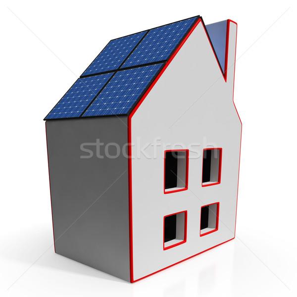 Domu panele słoneczne energii ze źródeł odnawialnych moc domu Zdjęcia stock © stuartmiles