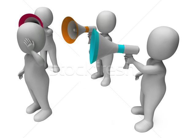 Loud Hailer Character Shows Megaphone Shouting Yelling And Bully Stock photo © stuartmiles