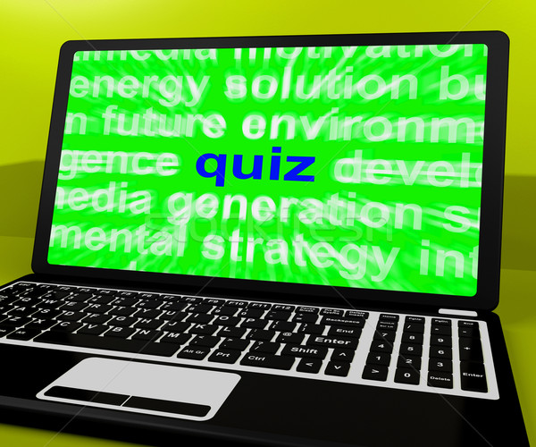 Quiz Laptop Means Tests Quizzing Or Answers Online