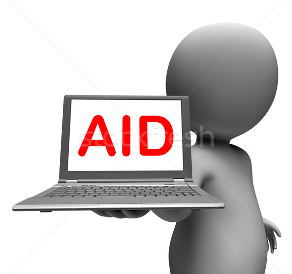 Aid Character Laptop Shows Assistance Aiding Helping Or Relief Stock photo © stuartmiles