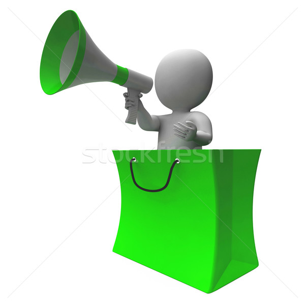 Loud Hailer Shopping Character Shows Sales Or Discounts Stock photo © stuartmiles