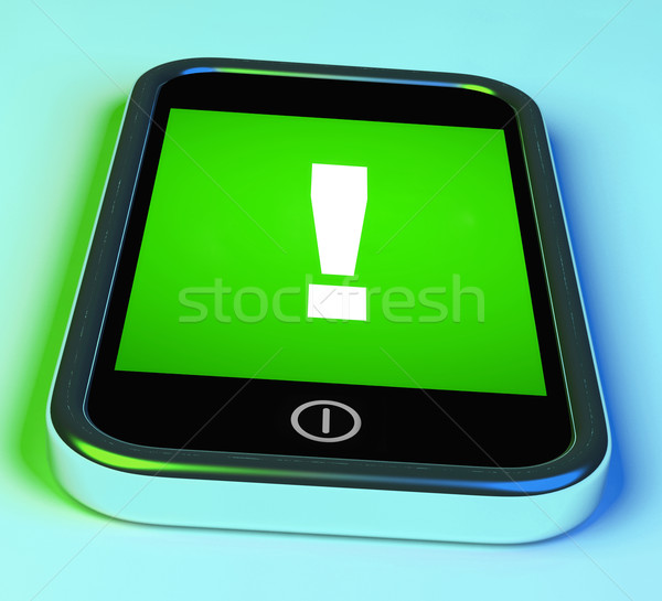 Exclamation Mark On Phone Shows Attention Warning Stock photo © stuartmiles