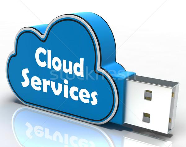 Cloud Services Cloud Pen drive Shows Online Computing Services Stock photo © stuartmiles