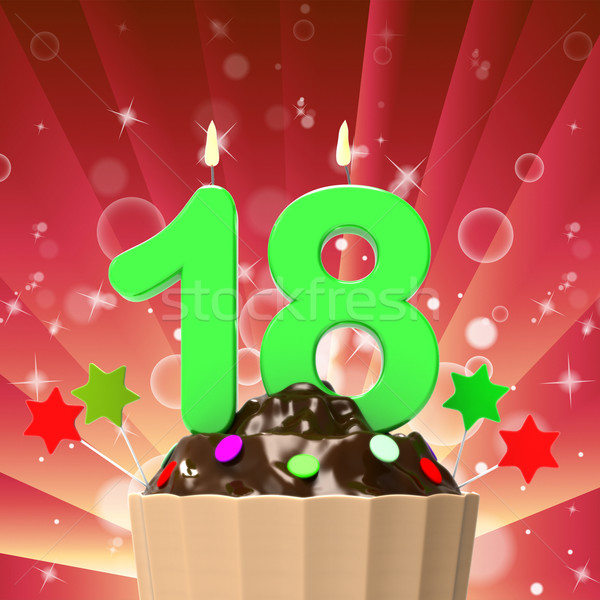 Eighteen Candle On Cupcake Means Eighteenth Birthday Cake Or Cel Stock photo © stuartmiles