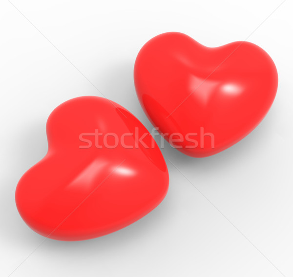 Three Dimensional Hearts Means Affection Passion And Attraction Stock photo © stuartmiles