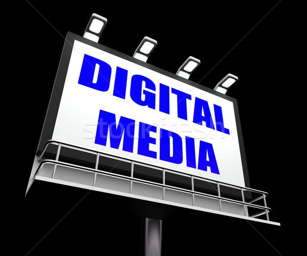 Digital Media Sign Shows Electronic Computer Equipment Stock photo © stuartmiles