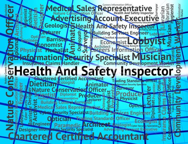 Baan woord gezondheid controleren tonen veiligheid Stockfoto © stuartmiles