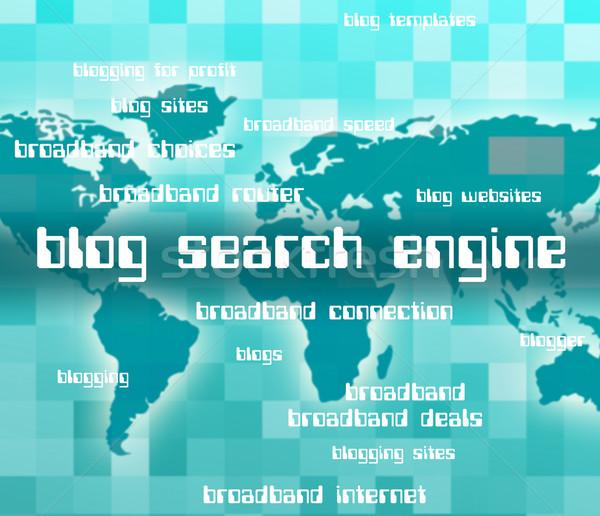 Blog Search Engine Indicates Gathering Data And Analyse Stock photo © stuartmiles