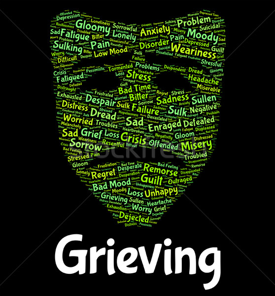 Grieving Word Represents Suffering Woe And Text Stock photo © stuartmiles