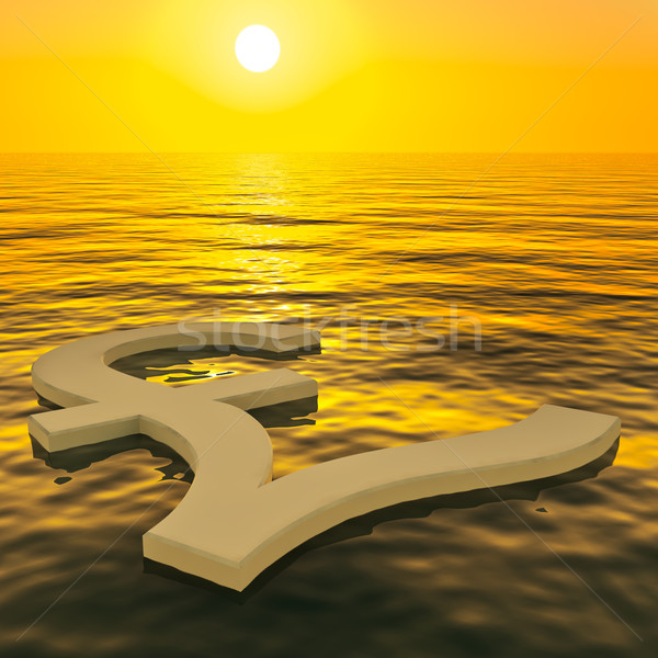 Pound Floating And Sunset Showing Money Wealth Or Earnings Stock photo © stuartmiles