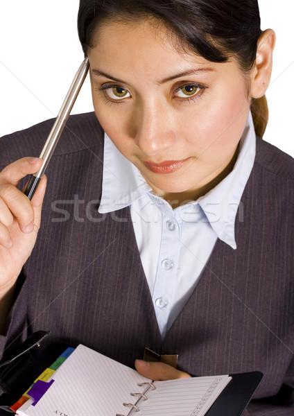 деловой женщины организатор мышления еженедельно плана девушки Сток-фото © stuartmiles