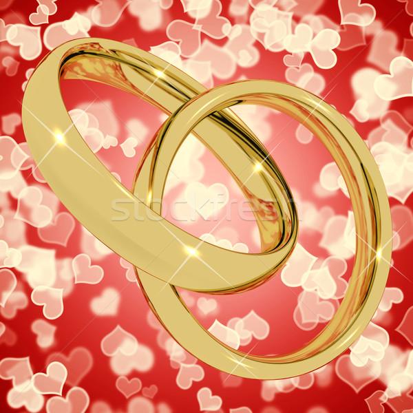 Altın halkalar kalp bokeh sevmek valentine Stok fotoğraf © stuartmiles