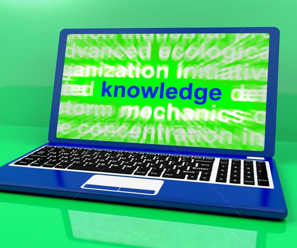 Kennis woord laptop tonen wijsheid leren Stockfoto © stuartmiles