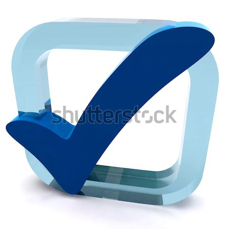 Boxed Blue Tick Shows Quality And Excellence Stock photo © stuartmiles