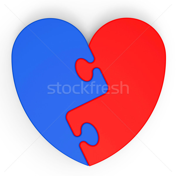Stock photo: Two-Colored Heart Showing Love Complement