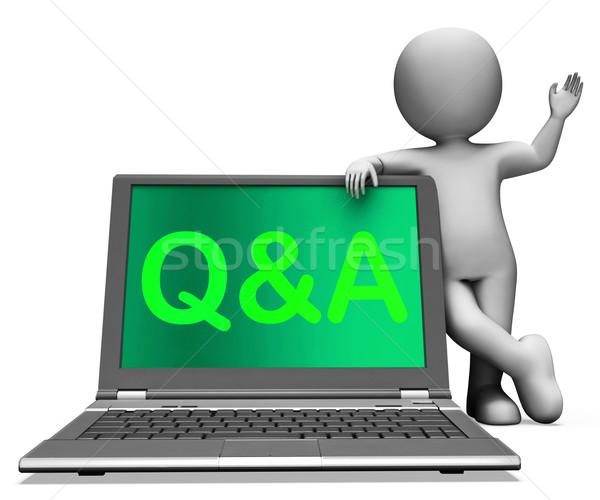 Foto stock: Laptop · pergunta · responder · on-line · teia