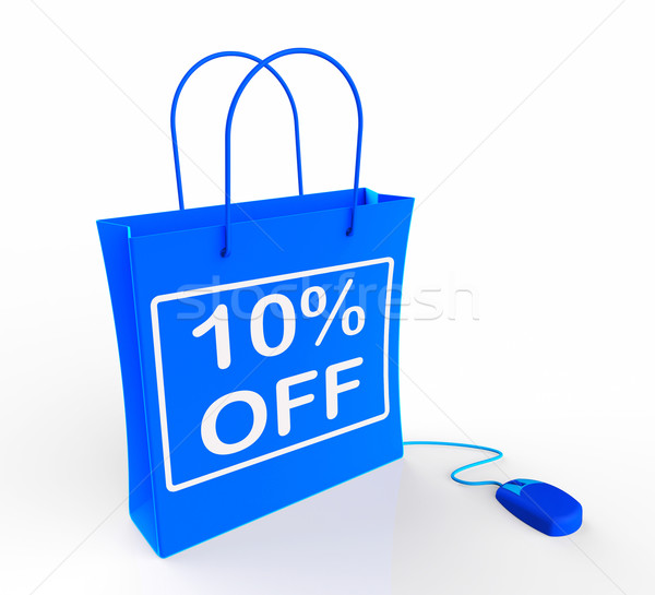 Ten Percent Off Bag Shows Online Sales and 10 Discounts Stock photo © stuartmiles