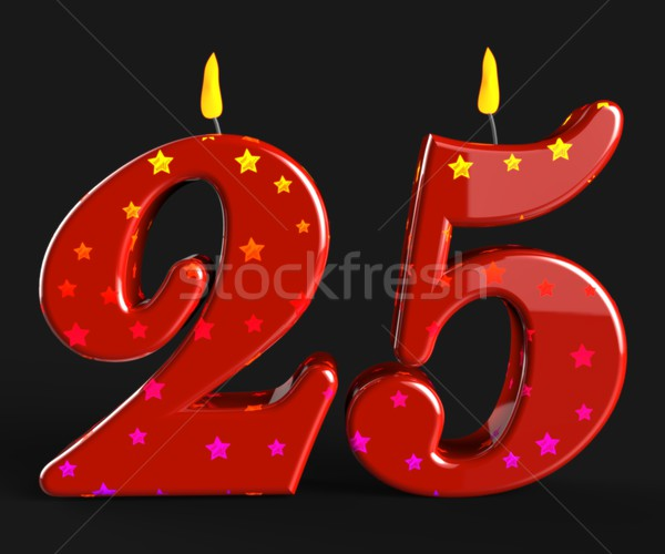 Number Twenty Five Candles Show Burning Candles Or Bright Flame Stock photo © stuartmiles