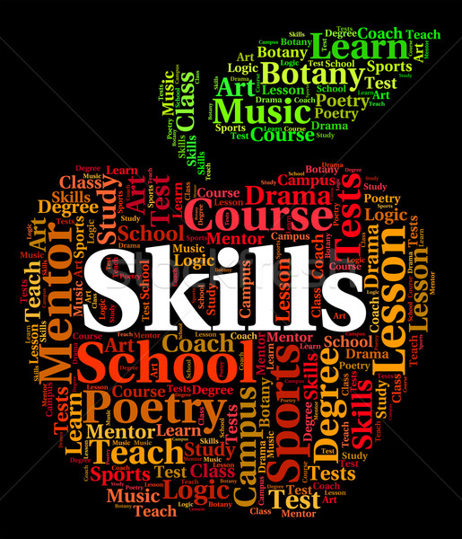 Skills Word Means Words Competencies And Text Stock photo © stuartmiles