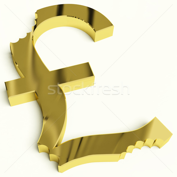 Stock photo: Pound With Bite Showing Devaluation Economic Crisis And Recessio