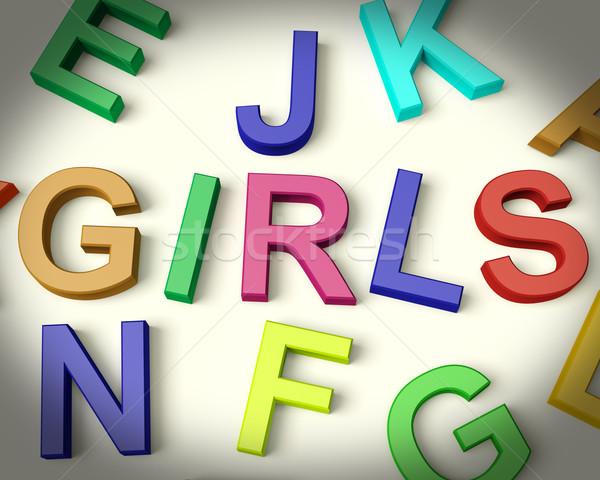 Stok fotoğraf: Kızlar · yazılı · plastik · çocuklar · harfler