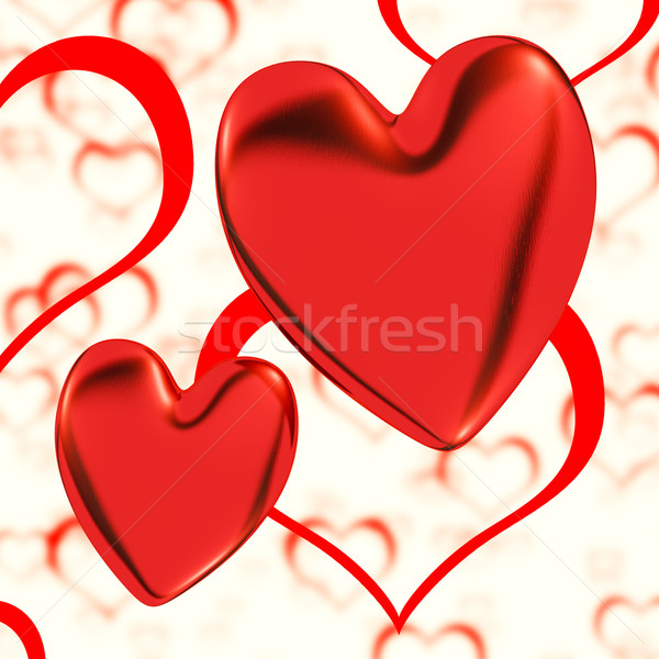 Red, Hearts On A Heart Background Showing Love Romance And Roman Stock photo © stuartmiles