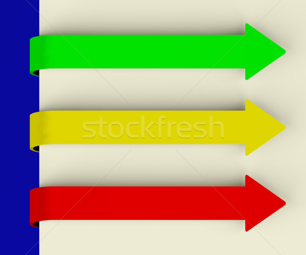 Stock photo: Three Multicolored Long Arrow Tabs Over Paper For Menu List Or N