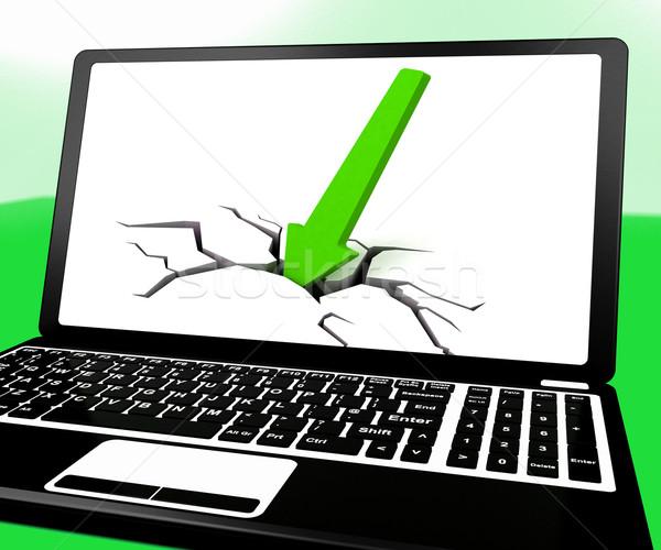 Сток-фото: стрелка · землю · ноутбука · падение · продажи · продажи