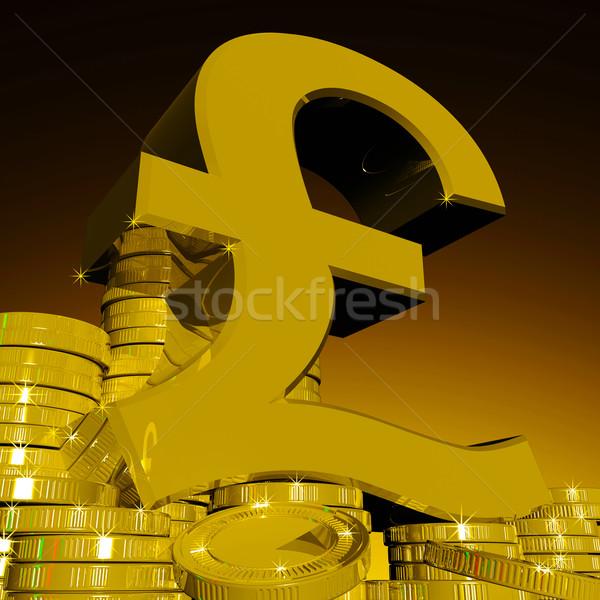 Libra símbolo moedas britânico moeda Foto stock © stuartmiles