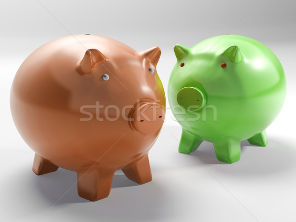 Pair Of Pigs Shows Investment And Security Stock photo © stuartmiles