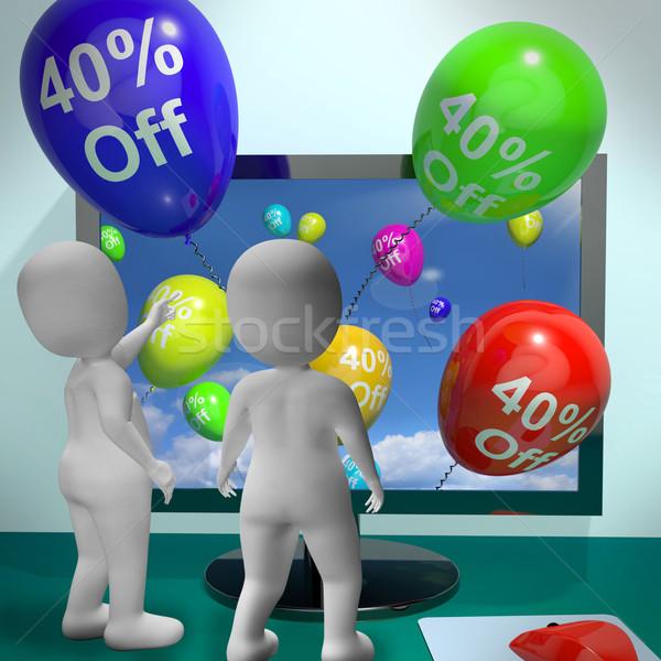 Balony komputera sprzedaży zniżka czterdzieści Zdjęcia stock © stuartmiles